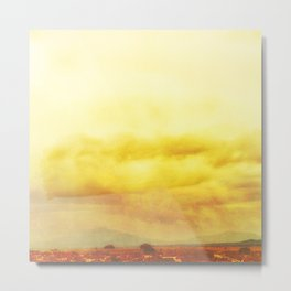 Modern Desert Sky Ladscape, Yellow Clouds, New Mexico, Minmal Metal Print