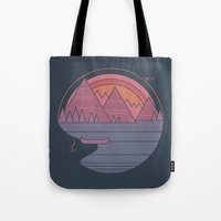 the mountains are calling Tote Bags featuring The Mountains are Calling by Rick Crane