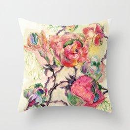 Spearmint Roses Throw Pillow