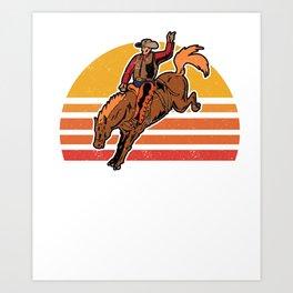Vintage Cowboy Bucking Horse Rodeo Gift Art Print