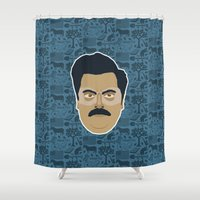 ron swanson Shower Curtains featuring Ron Swanson - Parks and recreation by Kuki