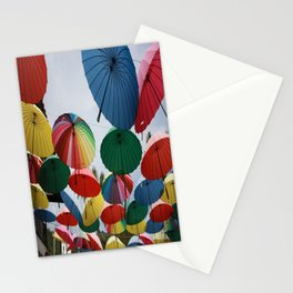 Street Decorated With Colored Umbrellas Stationery Cards