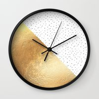 gold dots Wall Clocks featuring Gold and Polka Dots by Jenna Davis Designs
