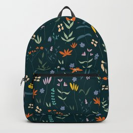 Retro Botanical Dark Backpack