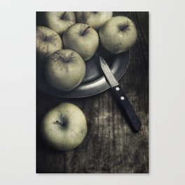 Still life with green apples Canvas Print