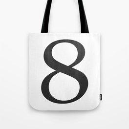 Number 8 (Black) Tote Bag