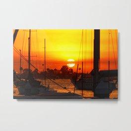 Newport Beach Harbor sunset Metal Print
