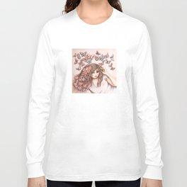 Paper Butterflies with girl Long Sleeve T-shirt