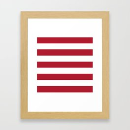 Christmas red - solid color - white stripes pattern Framed Art Print