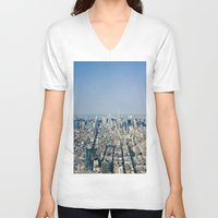 manhattan V-neck T-shirts featuring Manhattan  by Anna Harding