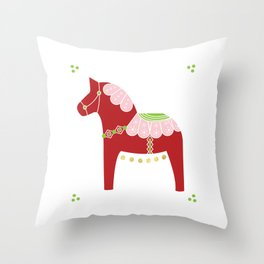 Valentine Dala Horse Throw Pillow