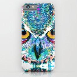 Colorful Horned Owl Art - Night Animal - Sharon Cummings iPhone Case