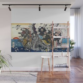 """ Seven Lucky Gods "" by(Utagawa Kuniyoshi + Keisai Eisen + Utagawa Kunisada) Wall Mural"