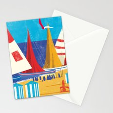 Sailboats on the Beach Stationery Cards