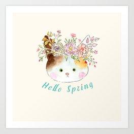 miss kitty hello spring Art Print