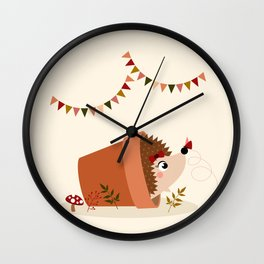 Hérisson et papillon Wall Clock