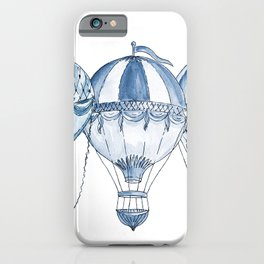 Vintage hot air balloon watercolor. iPhone Case