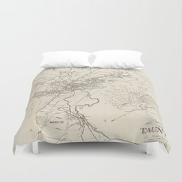 Vintage Map of Taunton MA (1915) Duvet Cover