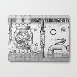 Mother Brain Super Metroid Engraving Scene Metal Print