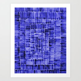 Watercolor abstract rectangles - blue Art Print