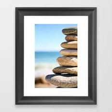 stacked rocks Framed Art Print