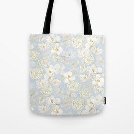 White Floral on Pale Blue Tote Bag
