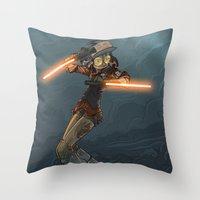 bouletcorp Throw Pillows featuring LaserGirl by Bouletcorp