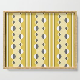 Circles and Stripes in Mustard Yellow and Gray Serving Tray