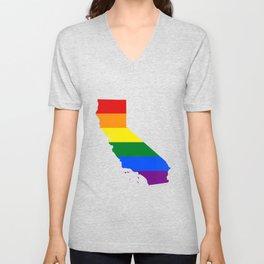 LGBT Flag Map of California  Unisex V-Neck