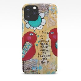 I love you a bushel and a peck, whimsical birds with flower iPhone Case