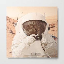 Astronaut Cat on Mars Metal Print