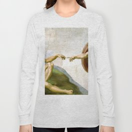 The Creation of Adam Painting by Michelangelo Sistine Chapel Long Sleeve T-shirt