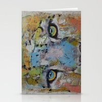 snow leopard Stationery Cards featuring Leopard by Michael Creese