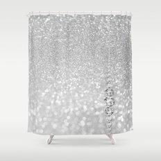 Diamonds are girls best friends III- Silver elegant glitter design Shower Curtain