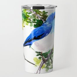 Mountain Bluebird, blue bird, art design blue green cottege Travel Mug