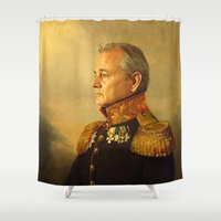 orange pattern Shower Curtains featuring Bill Murray - replaceface by replaceface