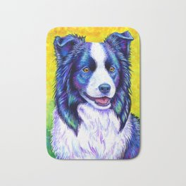 Colorful Border Collie Dog Bath Mat