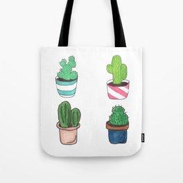 1 Cactus, 2 Cacti, 3 Cacti Four- Watercolor Design Tote Bag