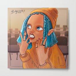Modern Gnome Girl Yellow Metal Print
