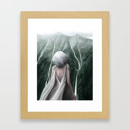 Girl  standing by a mountain Digital Art Painting Framed Art Print