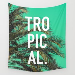 Vintage summer tropical typography palm tree photography Wall Tapestry