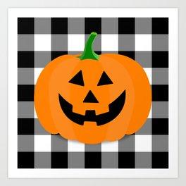Halloween Jack O'Lantern Buffalo Check Art Print