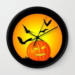 Halloween Moon Jack-O-Lantern Wall Clock