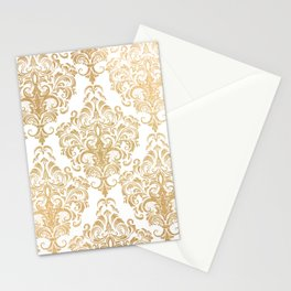 Gold foil swirls damask 15 Stationery Cards