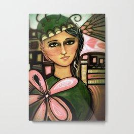 Girl with Flower Painted in Egg Tempera on Cardboard  Metal Print