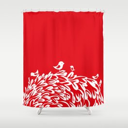 Red Birds Shower Curtain
