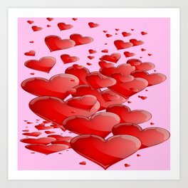 RED CANDY VALENTINE HEARTS IN PINK ART Art Print