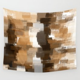 abstract pastel drawing in shades of brown grey and white Wall Tapestry