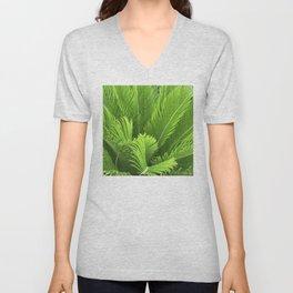 Neon Green Palm Leaves Vibrant Art Photo Unisex V-Neck