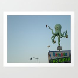 Octopus Carwash Art Print